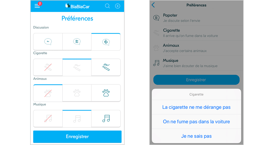 BlaBlaCarアプリ上の「嗜好」設定の画面