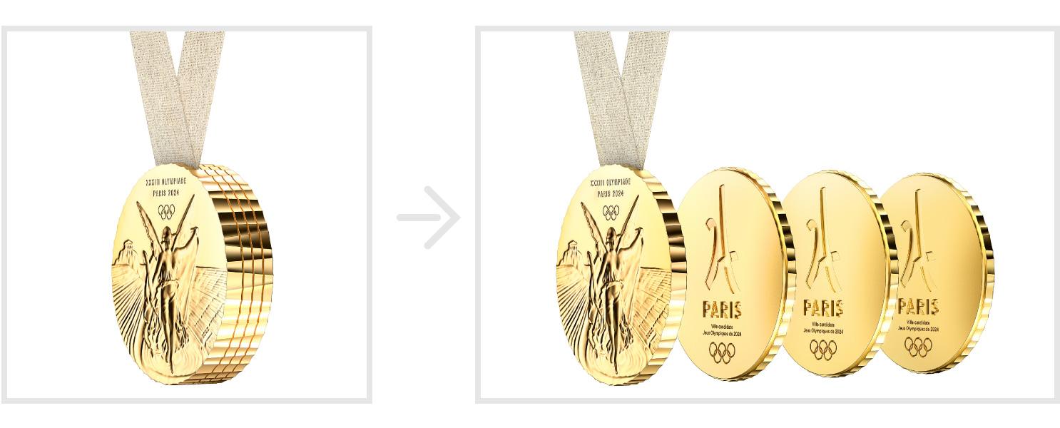 支えてくれた人と分け合う分割できる五輪メダル